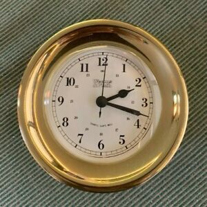 WEEMS & PLATH ORION 3 1/4 INCH QUARTZ BRASS SHIPS BELL CLOCK MODEL #400100