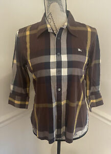 Burberry Brown Check Women's 3/4 Sleeves Button Down Cotton Shirt Size US M