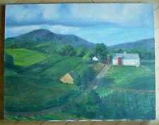 RUTH LUDLOW, FARM LANDSCAPE IMPRESSIONIST IMPRESSIONISM ROAD BUILDINGS HOUSES
