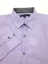 $95 KENNETH COLE Men's FIT WHITE PURPLE STRIPE LONG-SLEEVE BUTTON DRESS SHIRT L