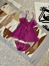 Vtg 70s Magenta Purple Sheer Lace Baby Doll Teddy Panty Set Nina Capri S