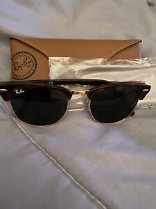 NEW Authentic Ray Ban Clubmaster W0366 Tort/Gold 51-21 145 Unisex RB Sunglasses
