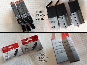 CANON PIXMA 5PC LOT CLI 251 BLK/GY GRAY CARTRIDGES OEM NIB BLACK OEM OPEN STOCK
