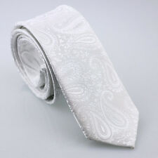 Coachella Ties White Solid Color Paisley Woven Necktie Fashion SLIM SKINNY Tie