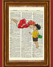 Ponyo and Sosuke Dictionary Art Print Poster Picture Anime Ghibli Movie