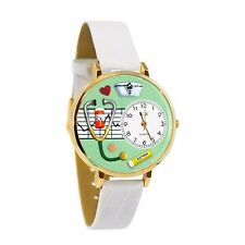 Whimsical Watches Women's Nurse Green White Leather Watch in Gold (Large)