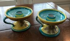 VTG antique hand painted candle holders Italy candlesticks Yellow, blue, brown