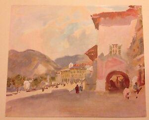 ORIGINAL 1902 'THE STUDIO' WATER-COLOUR PRINT ' PALLANZA LAGO ' BY H.B. BRABAZON