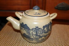 Chinese Pottery Teapot Village Scene Water Trees Mountains Boats