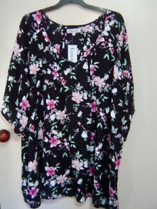 Quality Sue BNWT!! BEAUTIFUL PATTERNED CURVACEOUS  sh/sl TOP Plus size 32/34+