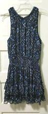 Forever 21 RUFFLE Short Mini Dress L Large Back Blue Ivory Elastic Waist Lined