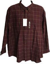 Arrow Men's Shirt Size XXL  18 18.5 Plaids Burgundy Brown Long Sleeve Button $40