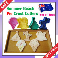 Summer Beach Pie/Cookie/Biscuit/Cake Topper 3D Plunger Crust Cutters*Set of 4pcs