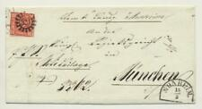GERMANY BAYERN 1860, 12kr SINGLE FRANKING ON COVER MONHEIM-MUNCHEN Sc#7