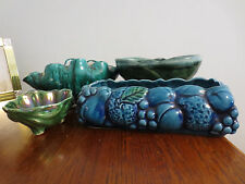 4 VINTAGE BLUE AND GREEN POTTERY PLANTERS ITALY INARCO