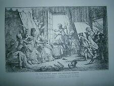 Planche gravure Jean Baptiste Huet Le vice forcé dans ses retranchements 1718