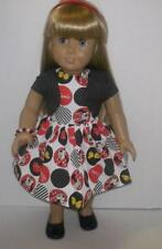 """Mickey Minnie Mouse Dress + jacket and shoes outfit fits 18"""" American Girl doll"""