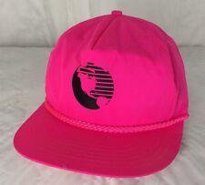 Vintage Neon Hot Pink Globe Logo Snapback Hat Nylon Adjustable Cap
