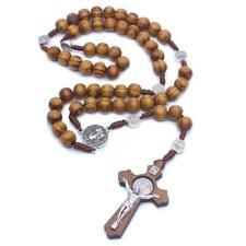 Fashion Handmade Round Bead Catholic Rosary Cross Religious Wood Beads Necklace