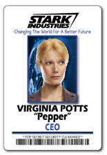 Virginia Pepper Potts Stark Industries Name Badge Halloween Cosplay Magnet Back