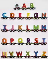 Wooden Magnet Magnetic Connecting Train Alphabet Letters 27pcs Kids Baby Toy UK