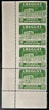Uruguay Sc#Q91 1960 Imperf horizontally between ERROR Strip of 4 MNH OG VF (8-76