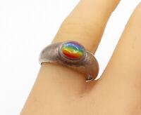 925 Sterling Silver - Vintage Rainbow Enamel Detail Band Ring Sz 10 - R16267