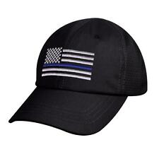 Rothco Thin Blue Line Flag Tactical Mesh Back Cap Law Enforcement Support, Black