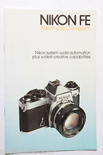 Nikon FE Series 35mm Camera Sales Brochure Book Pamphlet - English 1981 USED B72