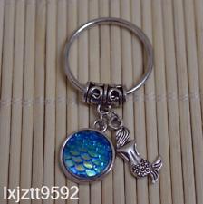 Lake Blue Ab Mermaid keychain, bagcharm zipper bag charm mermaid party favors#