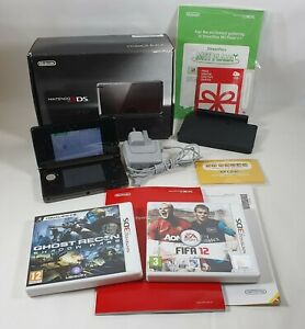 Nintendo 3DS Cosmos Black Handheld Console Boxed w/Games Official Charger TESTED