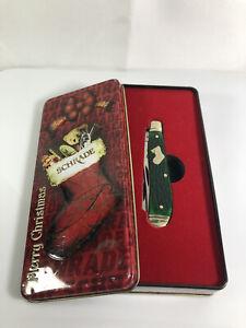 SCHRADE 2 Blade Pocket Knife w/Green Handle (94GPBC) w/Tin Case Merry Christmas