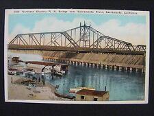 Sacramento California Northern Electric Railroad Bridge River Postcard 1915-30