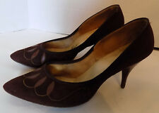 Vintage 40s Brown Suede Nanette Originals High Heel Shoes 8 8 1/2