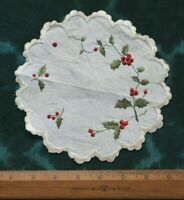 """Antique Silk Society Work Hand Embroidered Holly Berries On Linen c1900~7"""" Round"""