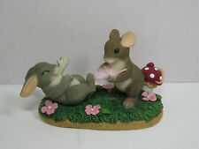 Fitz and Floyd Charming Tails 89/132 Tickled Pink mouse tickling bunny feather