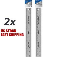 """Lot of 2 Stainless Steel Quality Non-Skid Back Straight Ruler 12"""" (30cm)"""
