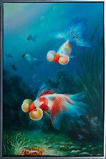 Schleierschwanz-Fische Öl-Malerei Leinwand 90 x 60 cm Lars Nielsen Dänemark