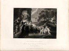Stampa antica MADONNA CON BAMBINO santi angioletti angeli 1840 Old antique print