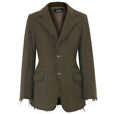 COMME DES GARCONS TRICOT raw cut frayed edge green wool blazer fitted jacket M