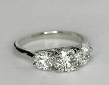 3.24 Ct Round Simulated Moissanite Engagement 3-Stone Ring 14K White Gold Over
