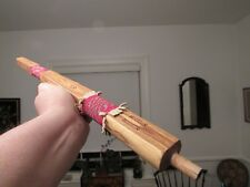 """Native American Beaded Pipe Stem 19"""" cedar with detailed wrap pattern"""