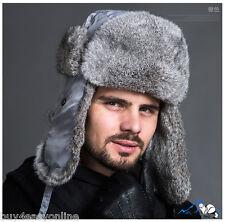 Men Gray Snowboard Real Rabbit Fur Russia Trapper Aviator Warm Bomber Hat Cap