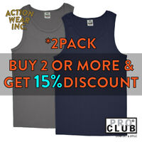 2 PACK PROCLUB PRO CLUB MENS PLAIN TANK TOP CASUAL SLEEVELESS ACTIVE MUSCLE TEE