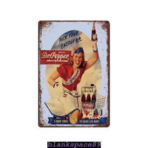 Metal Tin Sign Dr. pepper pick your energy up Home Vintage Retro Poster Cafe ART