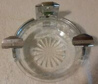 Vintage Chunky Crystal Glass Ashtray Commercial Hanging round cut glass