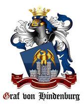 GRAF von HINDENBURG Neu ADELSTITEL Wappen Diplom Urkunde Schlossanteil