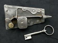 Original Antique Door Lock Open Castle Baroque Made of Iron with Key