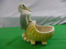 Vintage Pottery Planter Stork w/ Bassinette Baby Carriage ceramic