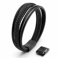 Echt Leder Herrenarmband schwarz mit Edelstahlverschluss Männer Armband